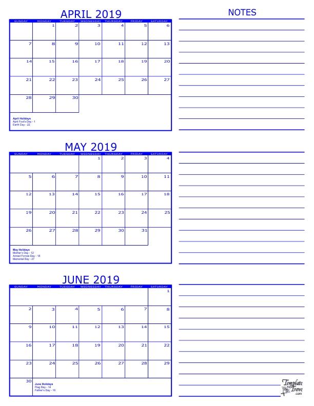 June To August Three Month 2019 Calendar