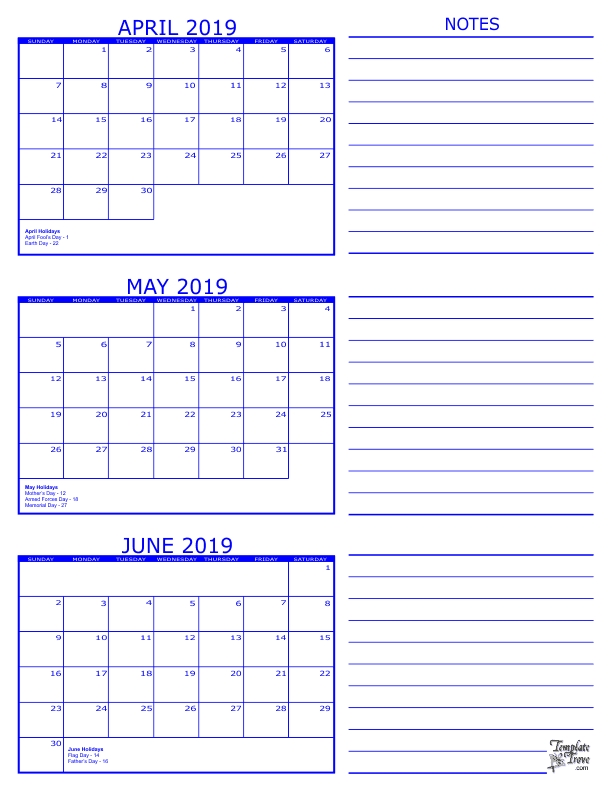 3 Month Calendar 2019 June July August