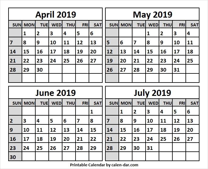 May Jun Jul 2019 Calendar Excel