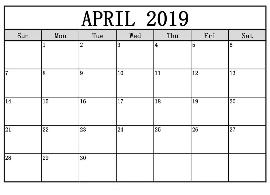 2019 April May Calendar Template