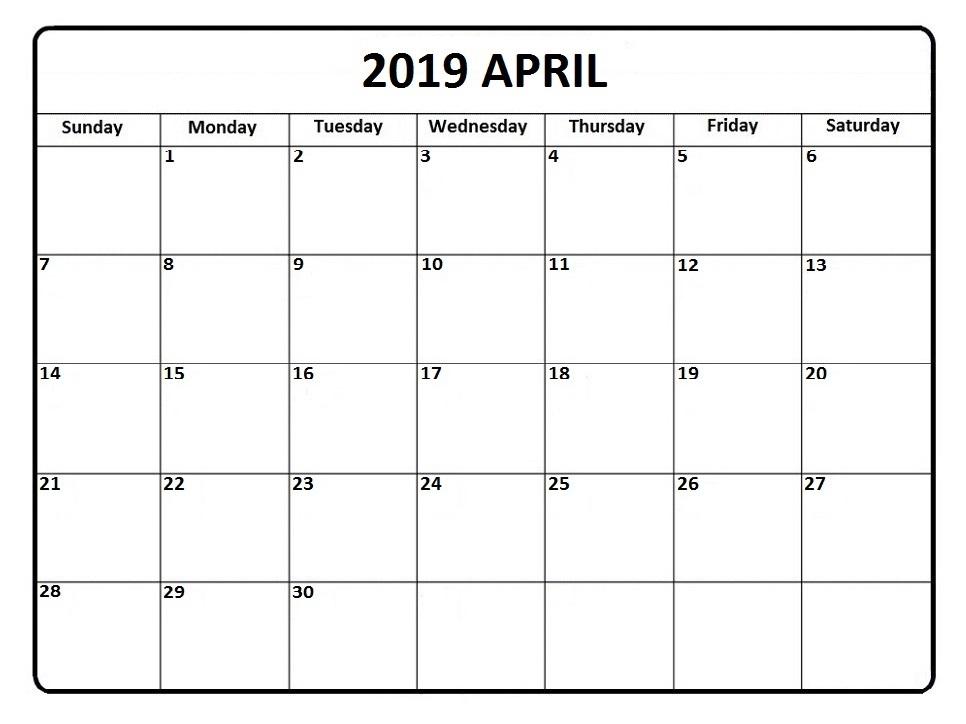 Apr Calendar 2019 Printable