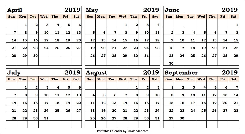 April September 2019 Half Year Calendar