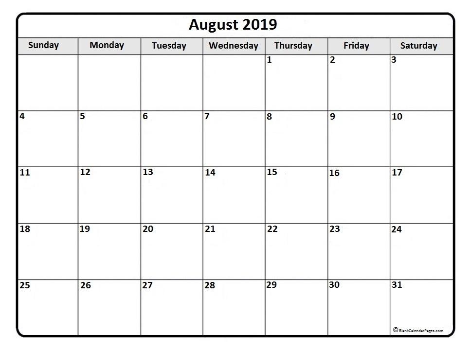 August 2019 Calendar Month