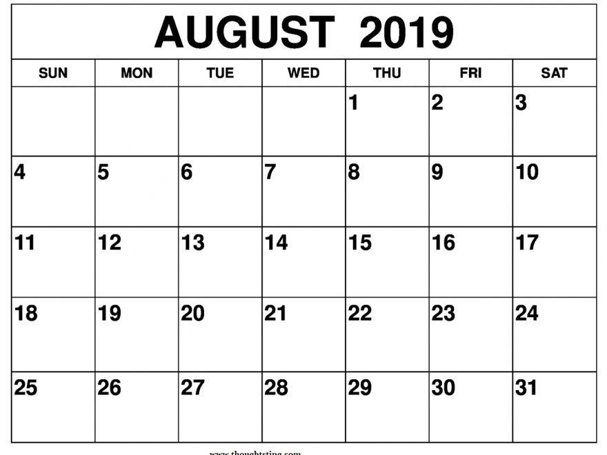 Month Of August Calendar 2019