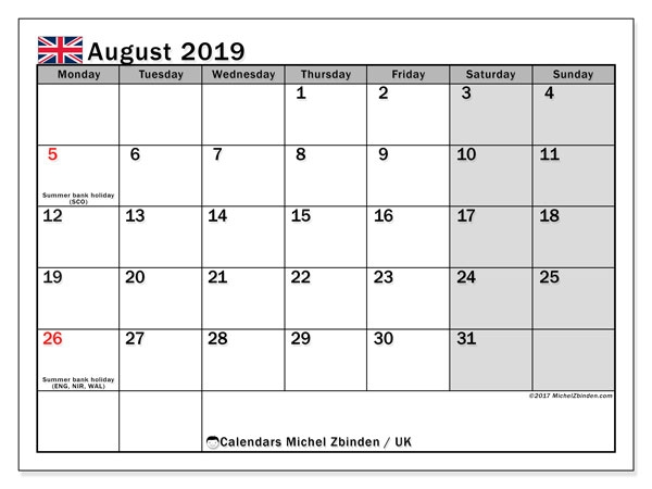 2019 July And August Calendar Uk