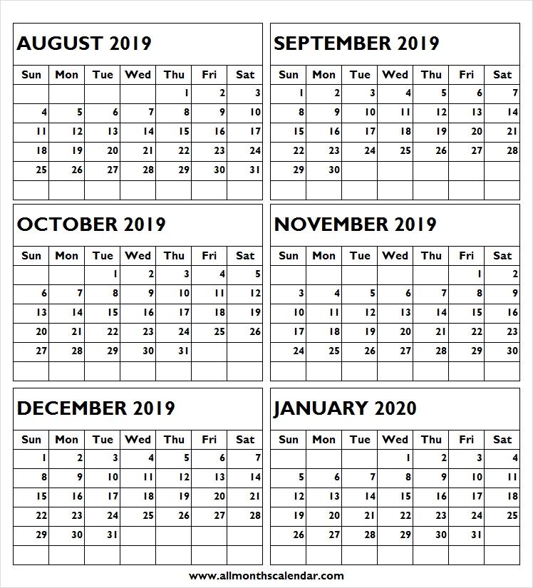 Calendar 2019 August To January 2020