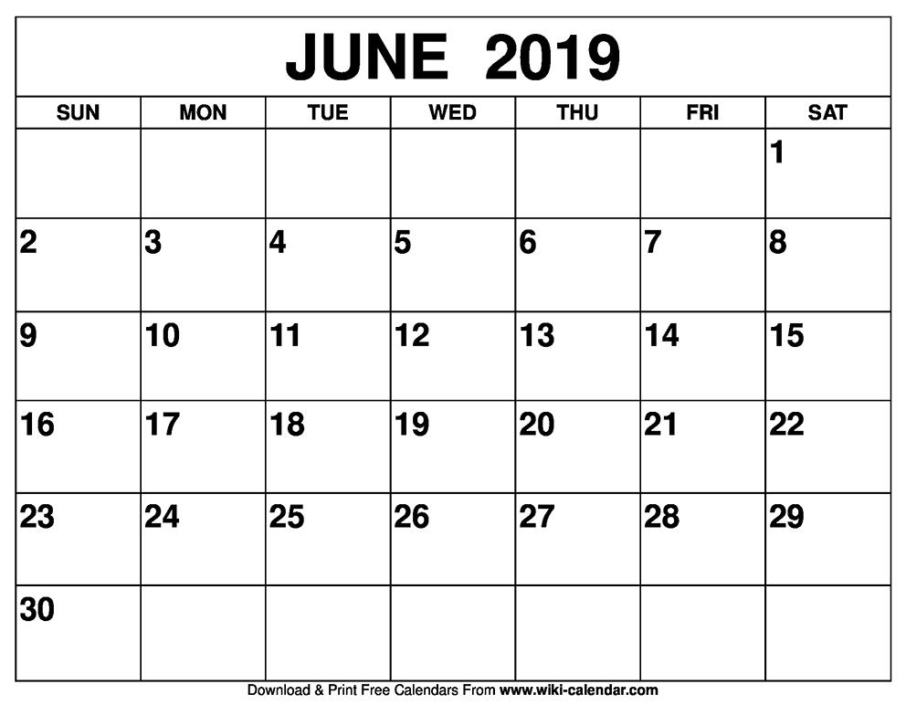 June 2019 Calendar Blank