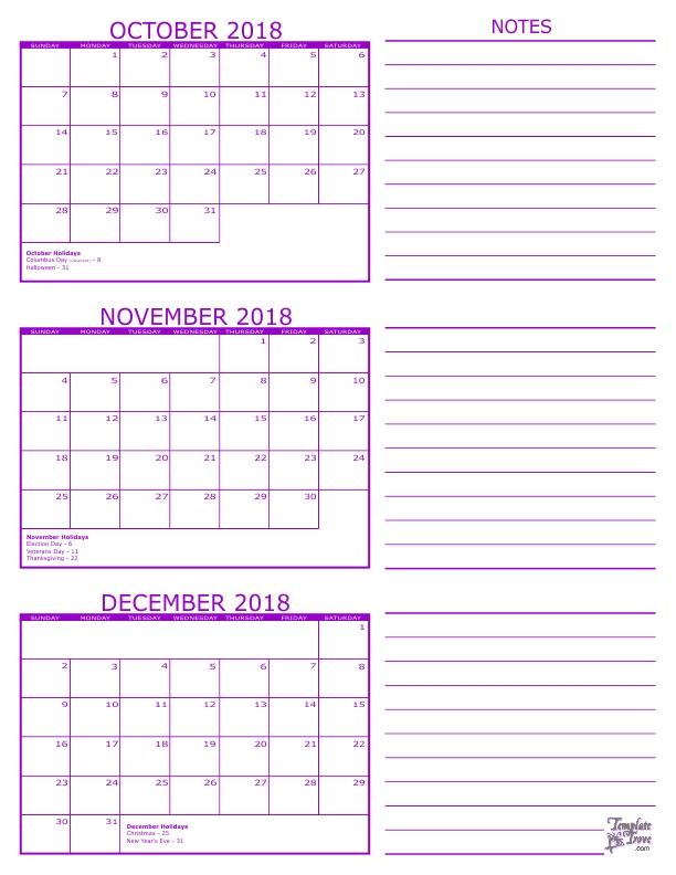 Three Month Calendar August September October 2019