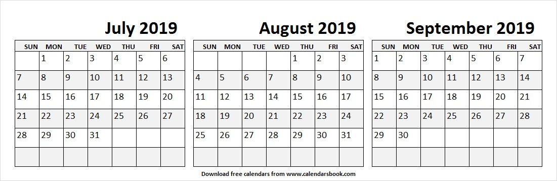 2019 Jul Aug Sep Calendar Download