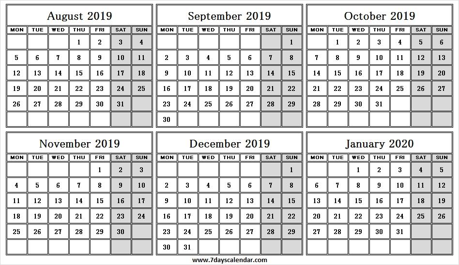 Half Year August January 2020 Calendar