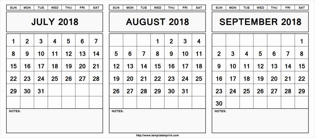 Monthly Calendar July August September 2019