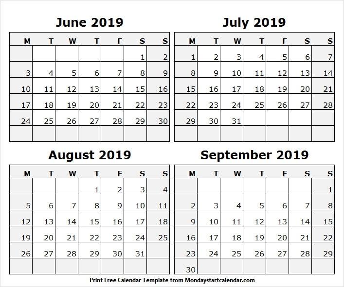 Jul Aug Sep 2019 Calendar Word