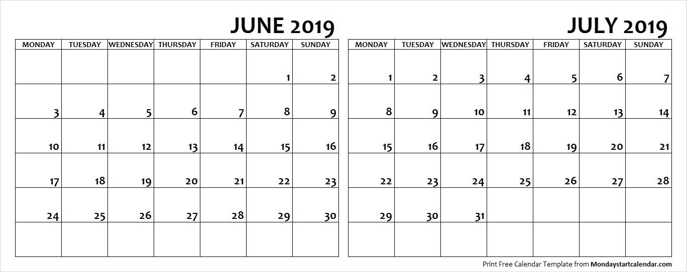 June July 2019 Calendar Monday Start