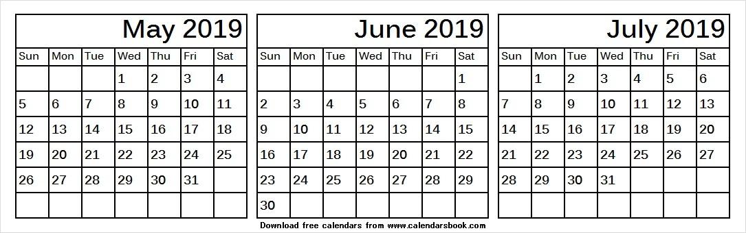 May Jun Jul 2019 Printable Calendar