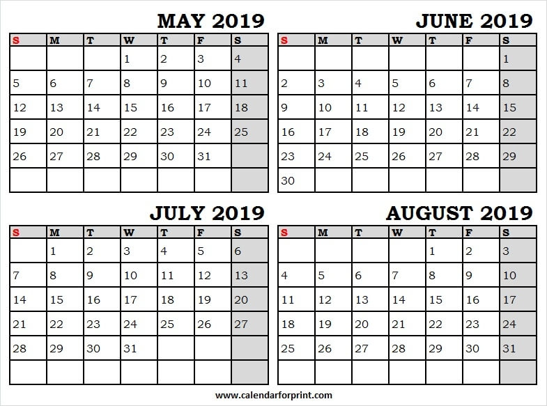 May To August 2019 Month Calendar Printable Calendar 2019