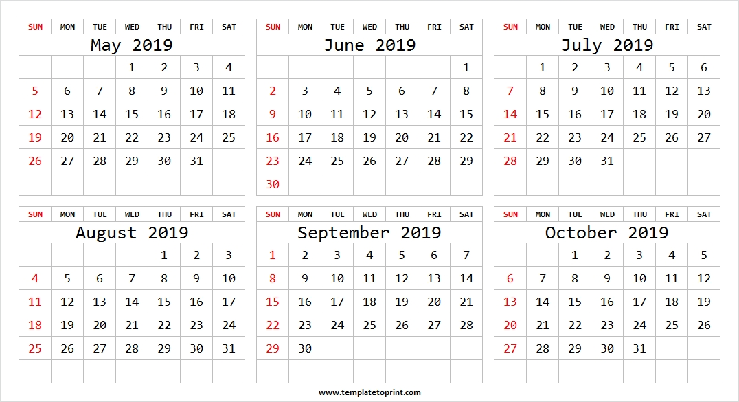 May To October 2019 Calendar With Notes