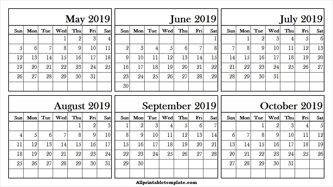 Printable Calendar May October 2019