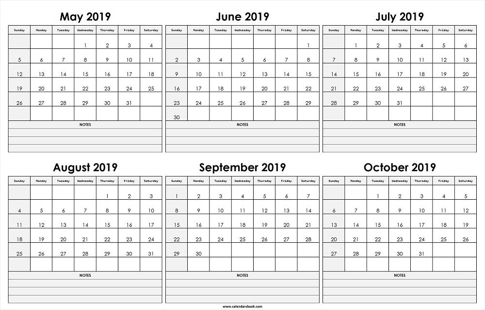May Jun Jul Aug Sep Oct 2019 Calendar