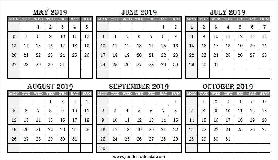 Online Calendar May To October 2019