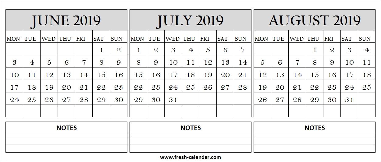 Jun Jul Aug 2019 Calendar