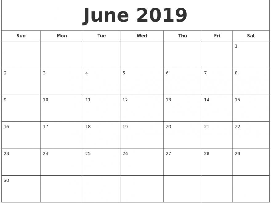 June 2019 Calendar Month