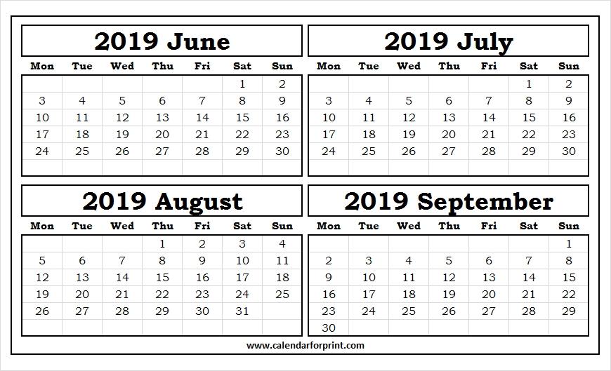 2019 July August And September Calendar Uk