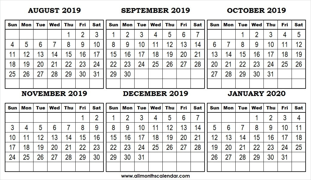 Six Month August January 2020 Calendar