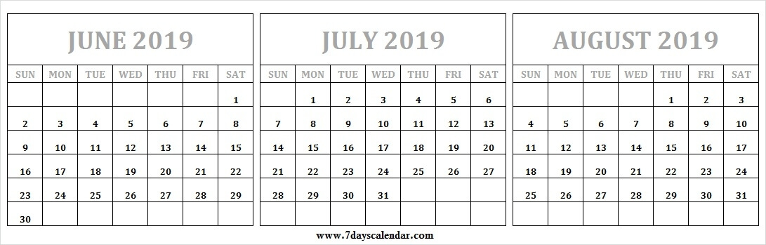 Sunday Start June August 2019 Calendar