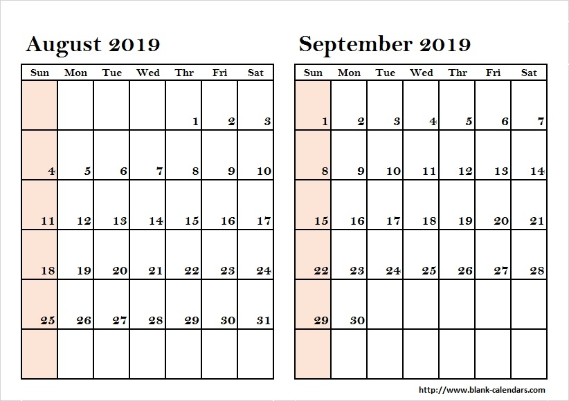 August To September Two Month 2019 Calendar