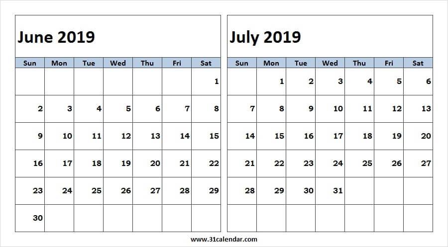 2 Month June July 2019 Calendar