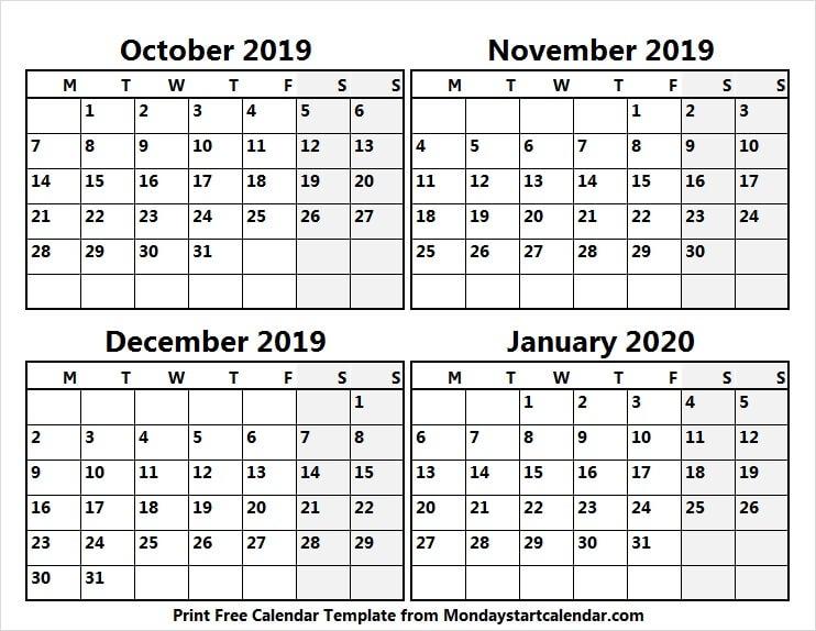 2019 October November December And 2020 January Calendar Online