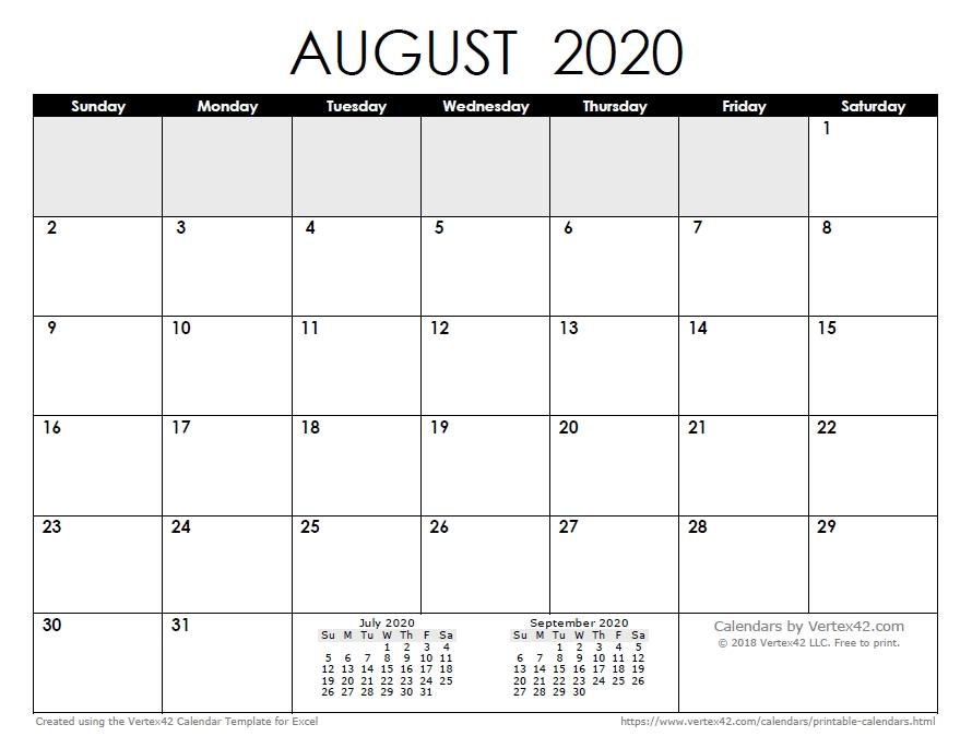 May Aug 2020 Calendar