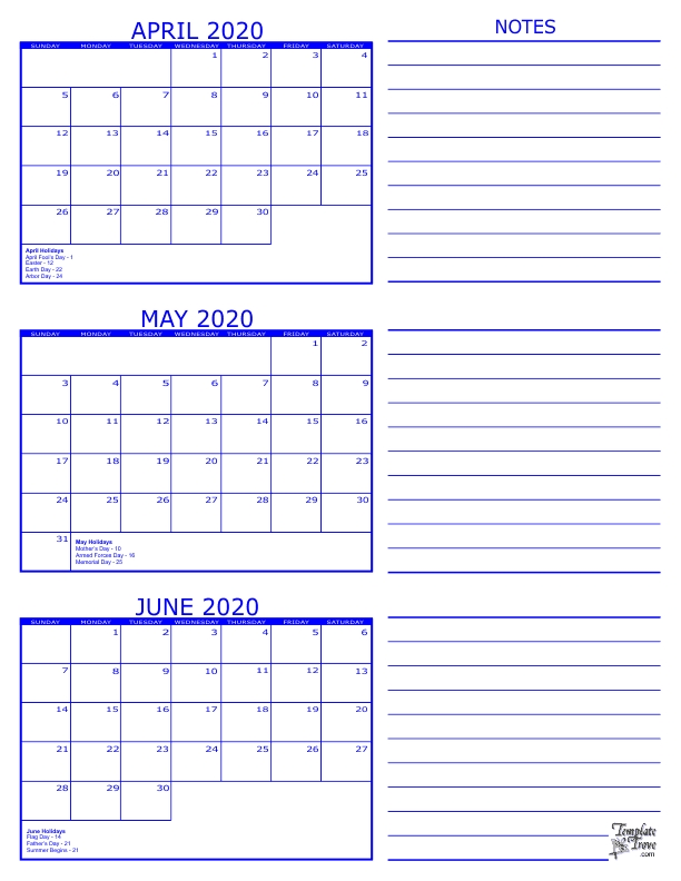 June To August Three Month 2020 Calendar