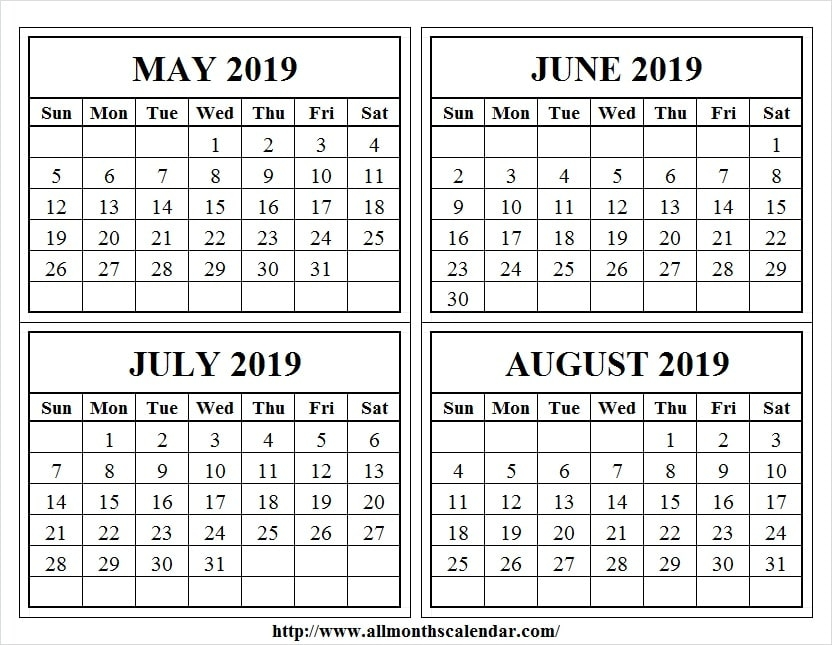 4 Month Calendar May August 2019 Template May 2019 Calendar Events