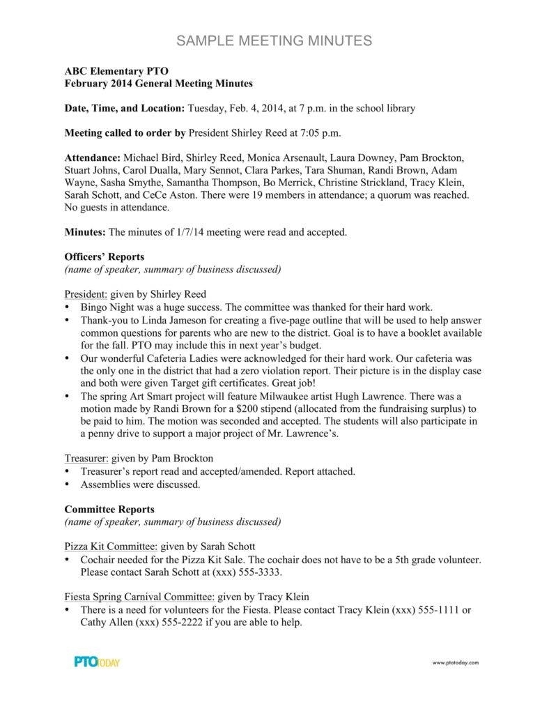 General Meeting Minutes Template