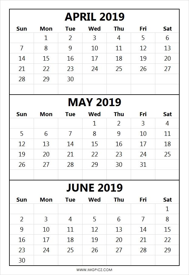 Calendar 2019 April May June