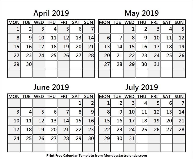 April To July 2019 Template Calendar