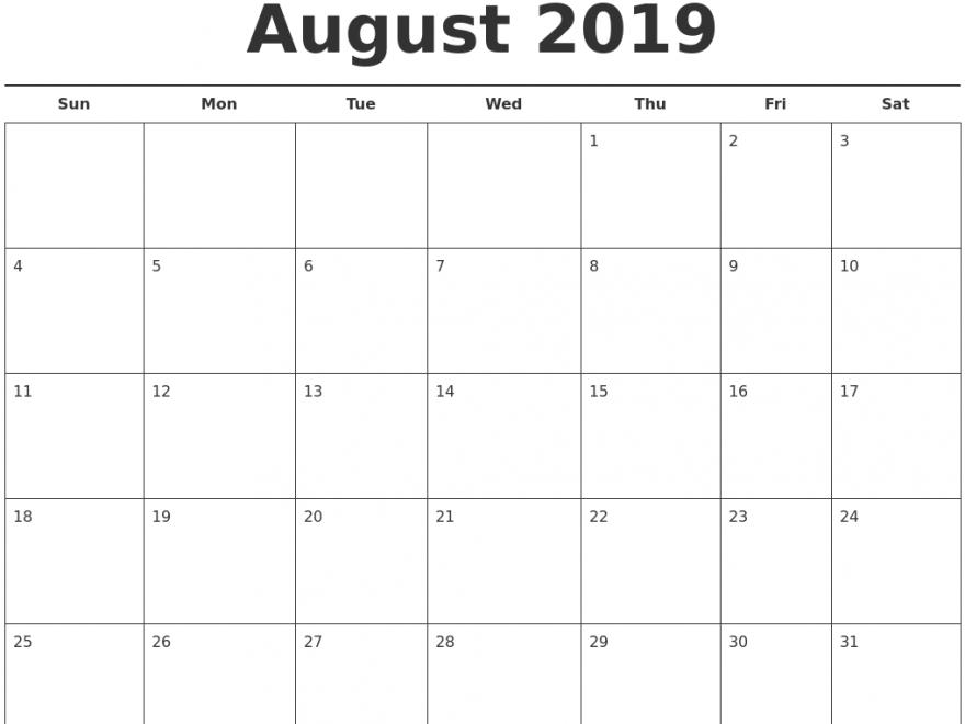 August Calendar 2019 Word