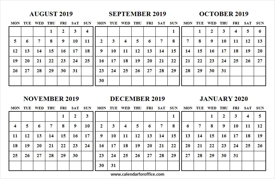 August To January 2020 Calendar Desktop Background