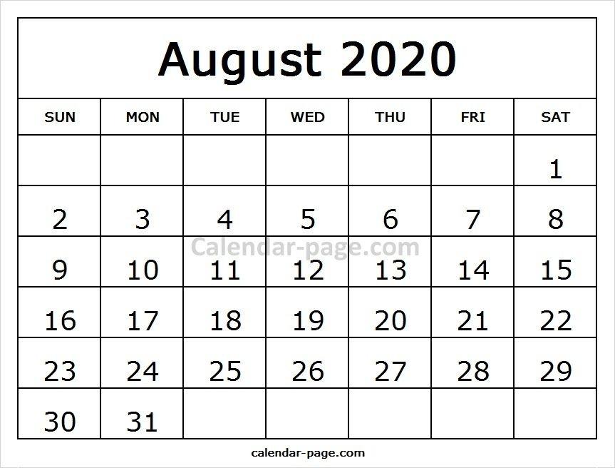 White Calendar 2020 August And September