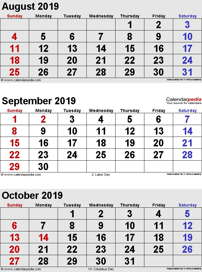 August To October 2019 Calendar Sunday Start