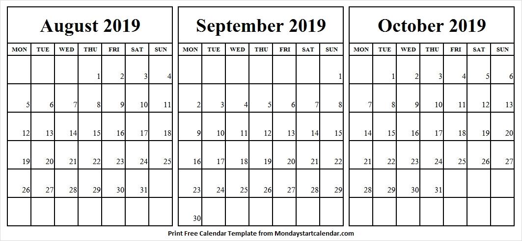 Portrait Calendar September October 2019