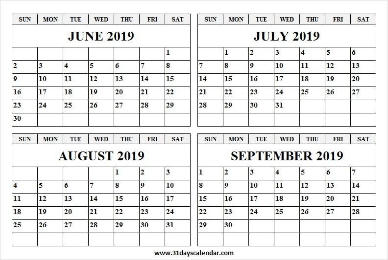 Black And White Calendar 2019 June July August September
