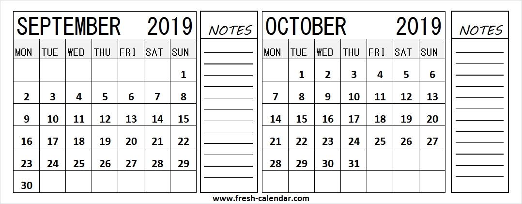 Black And White Calendar 2019 September October
