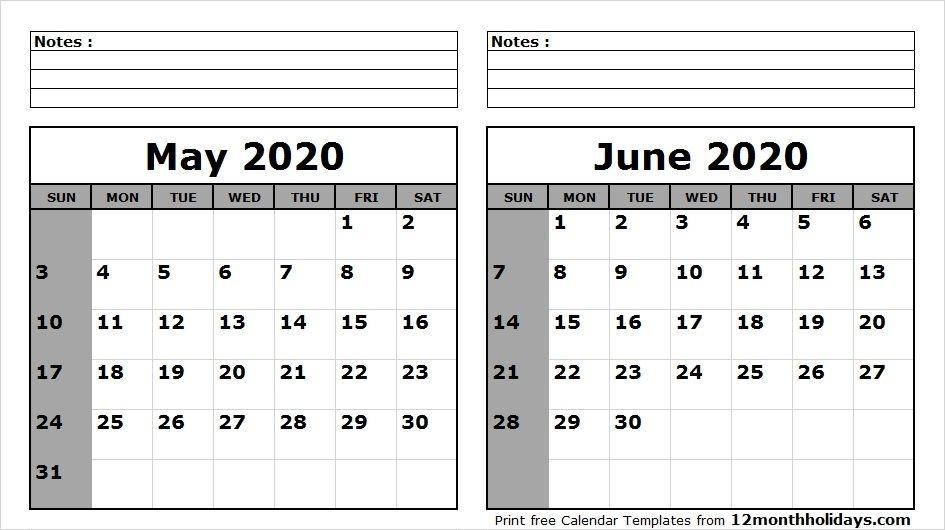 Printable Calendar May June 2020