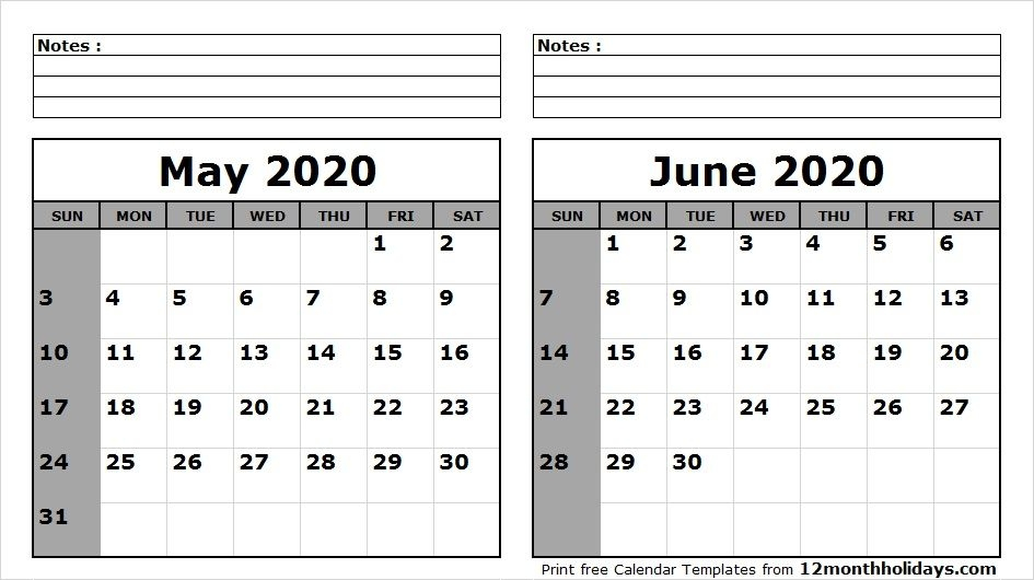 May To June 2020 Calendar Template