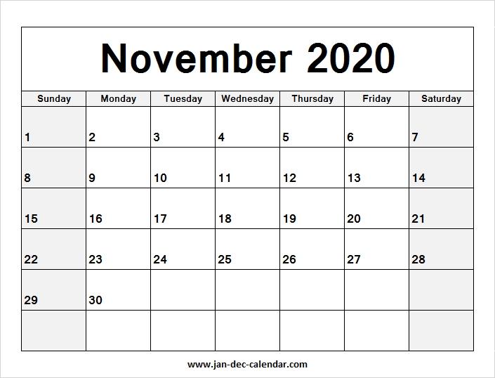 Blank Calendar August November 2020