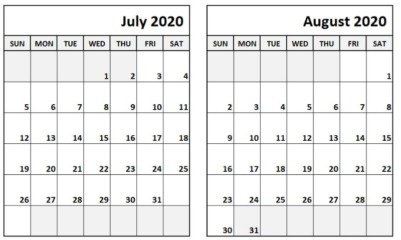 Blank July August 2020 Calendar Printable Template
