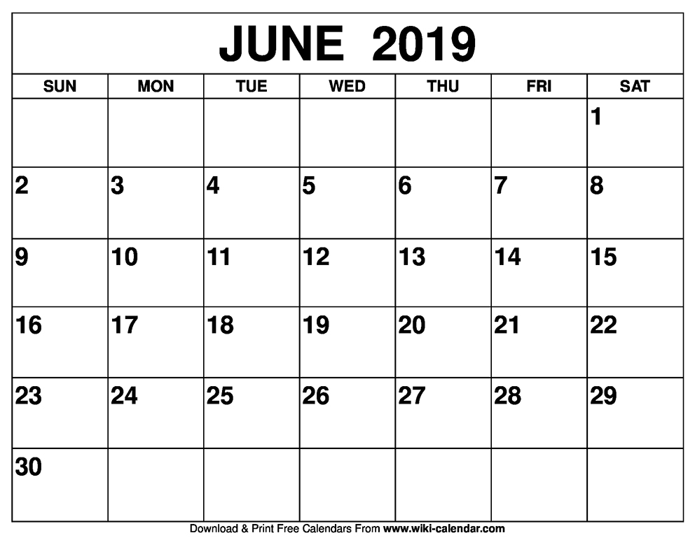June 2019 Calendar Print