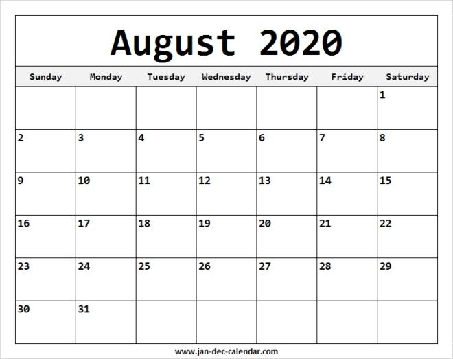 Blank Printable August Calendar 2020 Template Free